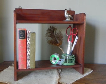 Vintage wood desk organizer sorter shelf with great patina and finish