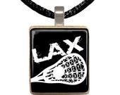 Lacrosse Scrabble Pendant, Scrabble Necklace, Lacrosse Necklace, Lacrosse Player, Gift For Him, Gift Under 10 (LAX Black)