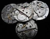 Vintage Antique Round Watch Movements Steampunk Altered Art Assemblage  N 23