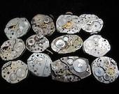 Destash Steampunk Watch Parts Movements Cogs Gears  Assemblage FW 6