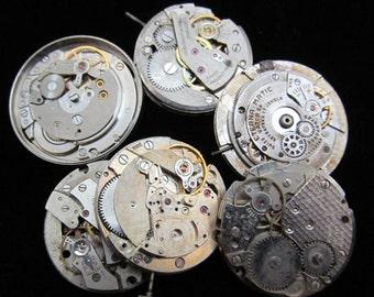 Vintage Antique Round Watch Movements Steampunk Altered Art Assemblage Q 23