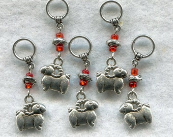 Goat Knitting Stitch Markers Billy Kid Nanny Goats Cashmere Mohair Charm Set of 5/SM01C