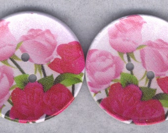 Roses Wood Buttons Wooden Buttons 40mm Red Rose Pink (1 5/8 inch) Set of 4/BT521