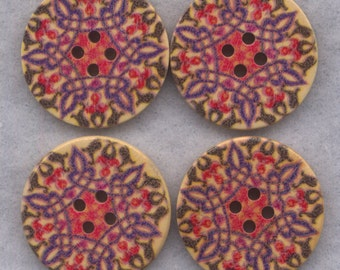 Geometric Print Wooden Buttons Purple Red Wood 30mm (1 1/4 inch) Set of 4/BT526