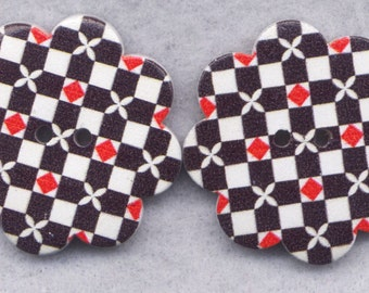 Checkerboard Wood Buttons Wooden Buttons Black and White 36mm (1 1/2 inch) Set of 2/BT297