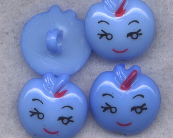 Blue Apple Buttons Happy Face Resin Shank Buttons 18mm (3/4 inch) Set of 4 /BT320B