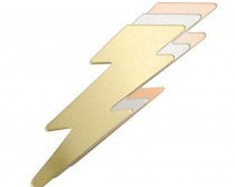 "Copper - Lightning Bolt Blanks - 1/2"" x 2"" x 24 gauge - Qty 3, stamping, metal blank, Impress Art, shape blank, heart, supply, supplies"