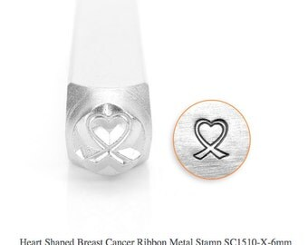 Heart Shaped Breast Cancer Ribbon Design Stamp, SC1510-X-6MM, Symbol and Shape Design Stamp, Metal Stamp, Steel Stamps, ImpressArt