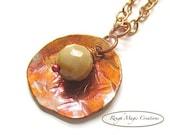 Jasper Gemstone Pendant, Antique Copper Pendant, Boho Chic Necklace, Bohemian Jewelry, Adjustable Chain - Handmade in America
