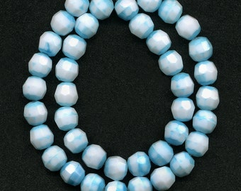 Vintage Blue & White Beads 7mm Faceted Round 40 Pcs. Made in Western Germany