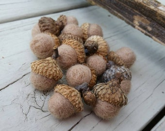 Needle Felted Acorns Tan Wool Roving Home and Living Nature Home Decor