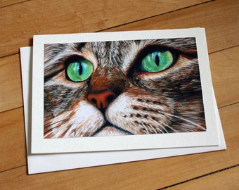 Handmade Greeting Card with Tabby Cat Print