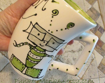 Kids robot pottery mug made to order personalized custom children's cup choose your colors