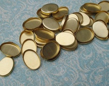 Brass 18x13mm Oval Flat Back Bezel Tray Cup Settings with 2.5mm High Wall for Flat Back Cabs Stones or Jewels (12 pieces)