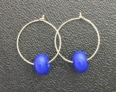 Blue Lamp Work Earrings With Gold Fill