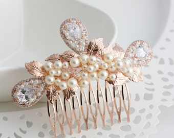 Rose Gold Wedding Comb Vintage Leaf Comb Pearl Bridal Hair Accessories Pearl Crystal Headpiece CORLISS