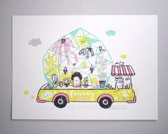Friendly Cactus Van - A3 Original limited edition silk screen print