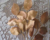 Vintage Millinery Rose Leaves Golden Coppery Satin Leaves Czechoslovakia 1950s  VL C12