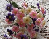 Czech Republic Velvet Forget Me Nots Millinery Fabric Flowers Pale Apricot Pink Purple Mix