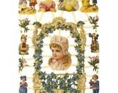 Germany Paper Scraps Lithographed Die Cut Victorian Children Ladies  7267