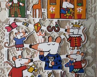 England Maisy Mouse Die Cut Paper Scraps  1939
