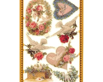 England Paper Scraps Lithograph Die Cut Victorian Birds And Bouquets  A-169