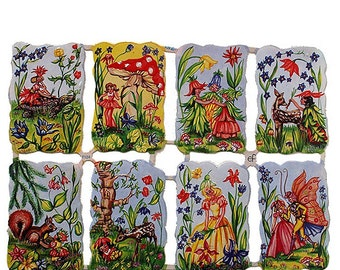Made In Germany Lithographed  Die Cut Paper Fairy Scraps  7124