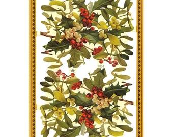 England Paper Lithograph Die Cut Scraps Christmas Holly Mistletoe  A 108