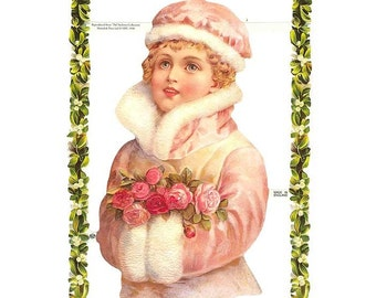 England Paper Die Cut Scraps  Christmas Victorian Holly Girl  A-136