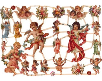 Germany Paper Scraps Lithographed Die Cut Victorian Angels  7228
