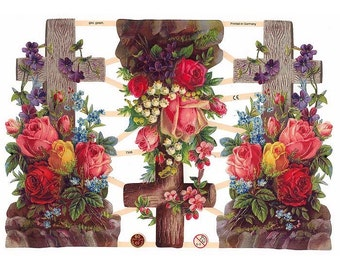 Germany Paper Scraps Lithographed Die Cut Crosses Flowers Religious  7308