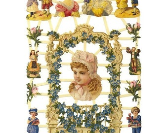 Germany Paper Scraps Lithographed Die Cut Victorian Children Ladies  7267