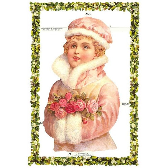 Christmas Decorations In Victorian England: England Paper Die Cut Scraps Christmas Victorian Holly Girl