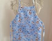 Full Body Apron Smock Children Blue Puppy Dog with Pocket