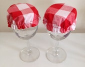 Reusable Wine Cup Glass Drink Cover Red White Gingham Checker Fabric