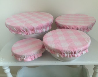 Pink White Gingham Reusable Eco-Friendly Fabric Picnic Food Bowl Covers Lids (Set of 4)