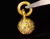 14k Solid Yellow Gold Handmade Champagne Diamond Sphere Ball Charm Pendant