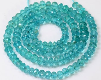 "Teal Blue Apatite Faceted Rondelle Beads 19"" STRAND"