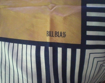 Bill Blass Scarf Tan Navy and Trimmed in Darker Tan