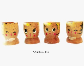 Vintage Egg Cups, Shabby Painted Wood Set