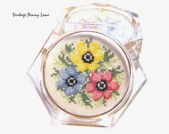 Vintage Lucite / Needlepoint Flower Coasters
