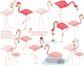 Flamingo clipart - flamingos clip art flamingoes birds baby in love pink exotic romantic whimsical love for scrapbooking cupcake toppers