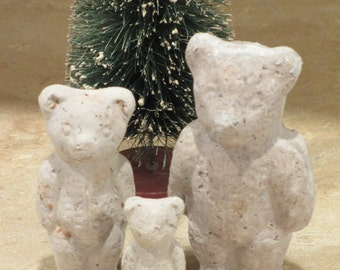 Unfinished paper mache Set of 3 Standing Bears