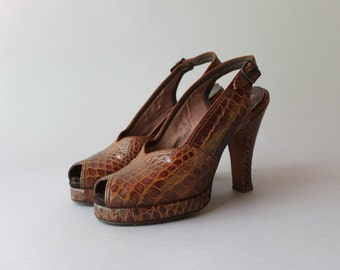 1940s Platform Shoes / Vintage 40s Peep Toe Heels / 40s Leather Slingback Platforms