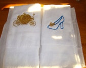 Embroidered Carriage and Slipper with Butterfly - Custom order