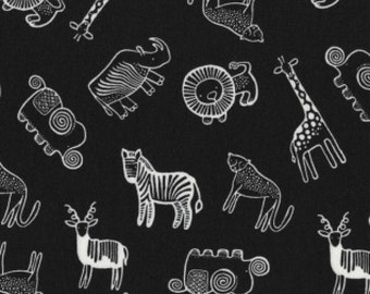 Safari Animals Black and White Dear Stella fabric 1 yard