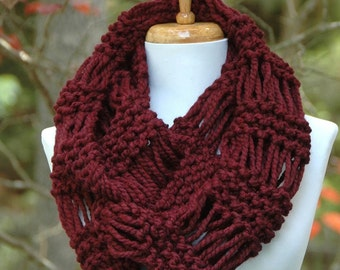 Chunky Scarf, Circle Scarf, Knit Infinity Scarf, Claret Burgundy Women's Scarf, Winter Scarf, Knitted Scarf, Original Design, Hand Knitted