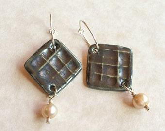 Porcelain and Pearl Earrings, Pewter Toned Earrings, Freshwater Pearl Earrings, Argentium Silver Hoops, Blush Pearls, Porcelain Earrings