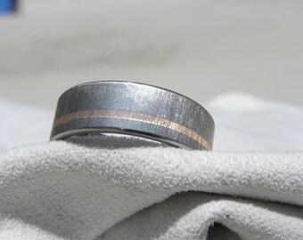 Wedding Band, Titanium with Rose Gold Inlay, Ring, Frosted Finish