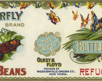 Butterfly Small Refugee Beans Can Label